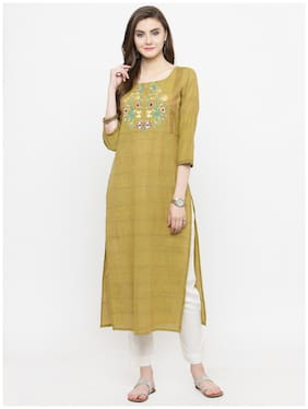 Varanga Women Cotton Embroidered Straight Kurta - Green