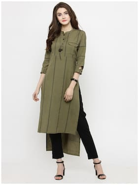 Women Striped Assymetrical Kurta