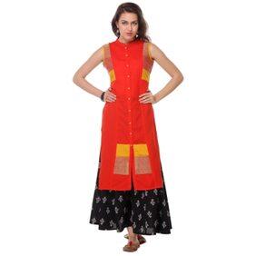 Varanga Orange Embroidered Cotton Chinese/Mandarin Collar Sleeveless Straight Kurta