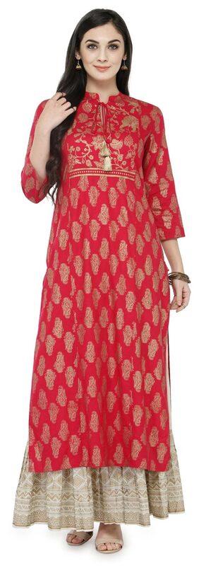 Varanga Pink Printed Kurta With Ivory Printed Skirt