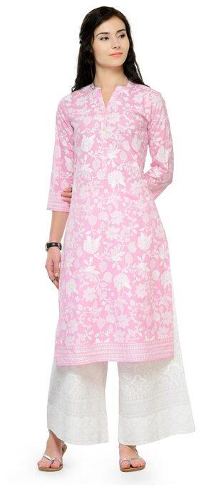 Varanga Pink Khadi Print Straight Long Cotton Kurta