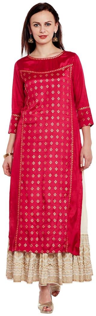 Varanga Women Red Printed Straight Kurta