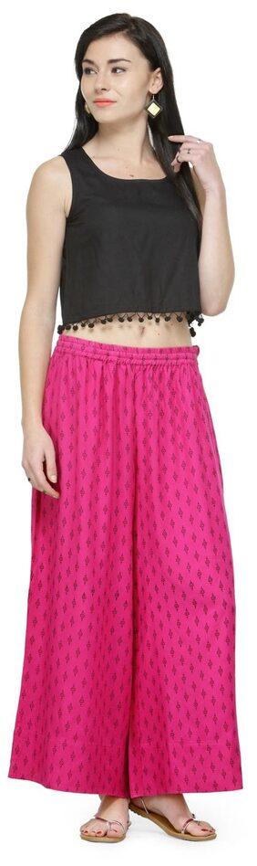 Varanga Pink Printed Rayon Straight Palazzo
