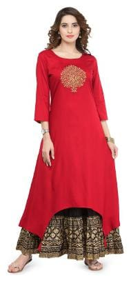 Varanga Women Viscose Printed A line Kurta - Red