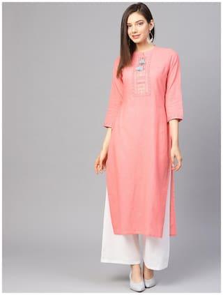 Varanga Women Pink Printed Straight Kurta