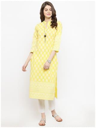 Varanga Women Yellow Printed Straight Kurta