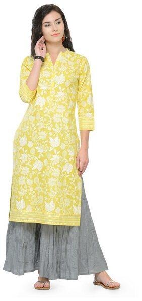 Varanga Women Cotton Floral Straight Kurta - Yellow
