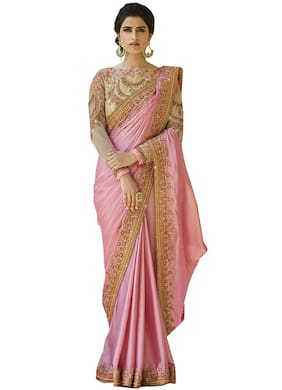 Vardan Ethnic Georgette Pink Embroidered  Saree For Women