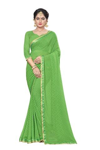 Vardan Prints Georgette Universal Gotta patti work Saree - Green , With blouse