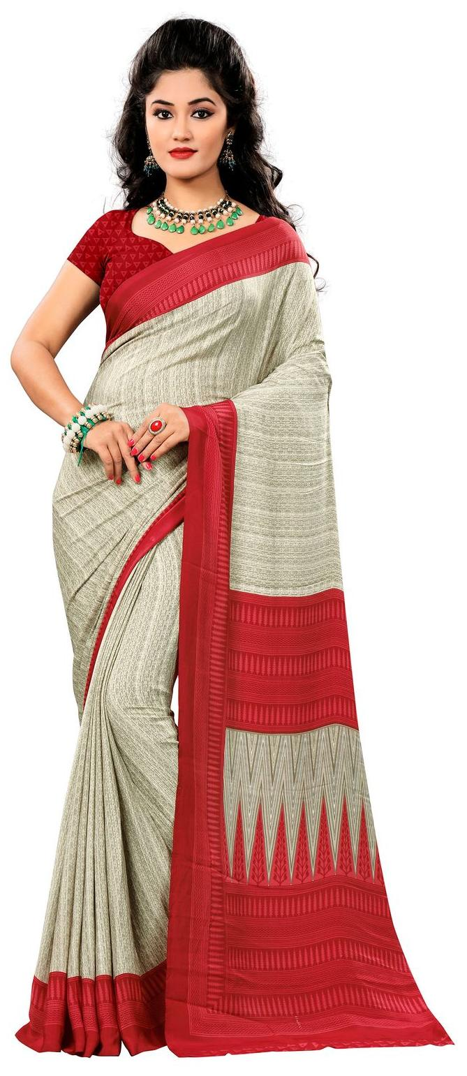 Vardan Prints Crepe Silk  Printed Bollywood Style  Saree With Blouse Piece
