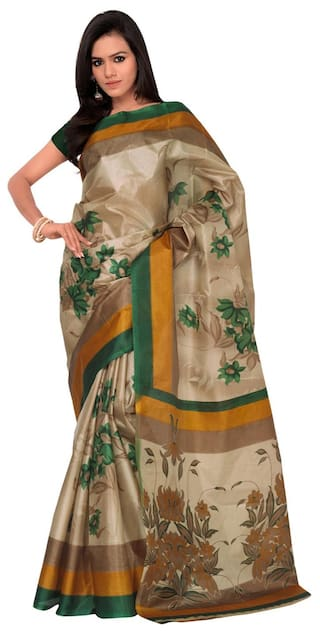 a8e9680b7 Varibha Branded Bollywood Designer Yellow Casual Wear Printed Silk saree  for women and girls ( diwali