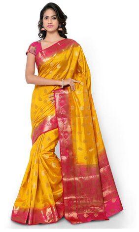 Varkala Silk Sarees Mustard & Pink Raw Silk Paithani Saree (Nd1010Mdrn)