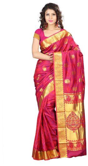 Varkala Silk Sarees Red & Violet Art Silk Kanchipuram Saree (Jb9101Rdv)