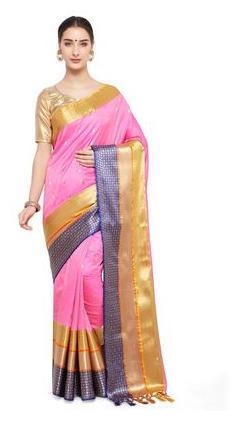 varkala silk sarees Baby Pink Silk Blended Kanchipuram Silk Saree -JB5124