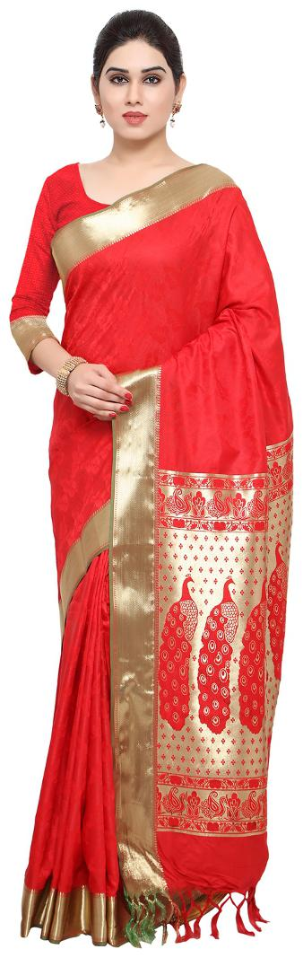 Varkala Silk Sarees Woven Self Design Art Silk Kanchipuram Saree Bright Red AWJP8102RDRD