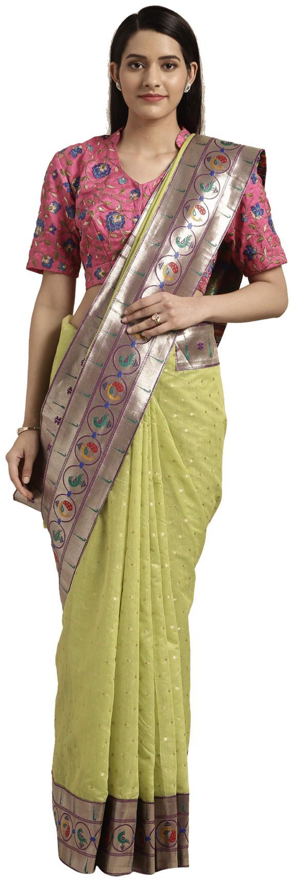 Varkala Silk Sarees Green Printed Zari Work Cotton Paithani Saree
