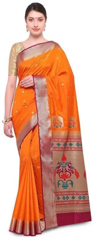 Varkala Silk Sarees Silk Paithani Zari work Saree - Orange , With blouse