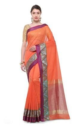 a78058bb74e96 Varkala Silk Sarees Cotton Banarasi Zari Work Saree - Orange