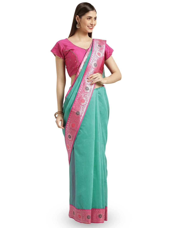 Varkala Silk Sarees Women Cotton Blend Turquoise Regular Saree With Blouse by Varkala Silk Saree