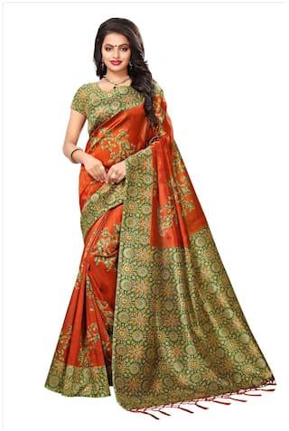 bda1631d46 Buy Varni Fashion Cotton Banarasi Block Print Work Saree - Orange ...