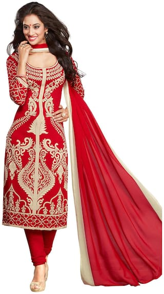 Shree Jeen Mata Collection 1356 Red Synthetic Churidar & Patiala  Dress Material