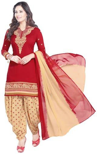 Shree Jeen Mata Collection Red Unstitched Kurta with bottom & dupatta With dupatta Dress Material
