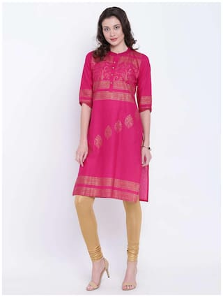VARKHA FASHION Women Cotton Printed Straight Kurta - Pink