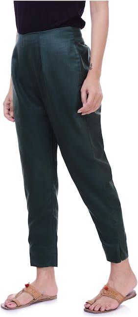 Vasavi Women Green Slim fit Cigarette pants