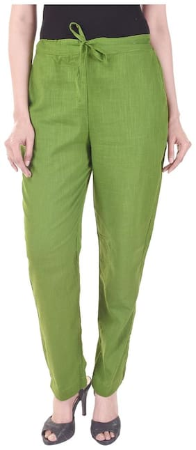Vasavi Women Green Slim fit Regular trousers