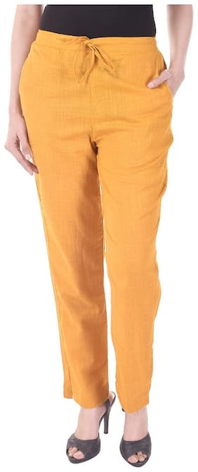 Vasavi Women Orange Slim fit Regular trousers