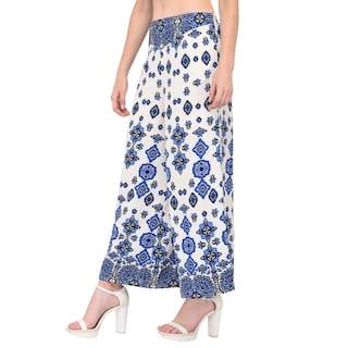 Women Palazzo amp;Blue Flred White Printed Vashist Cotton Dobby HvTww