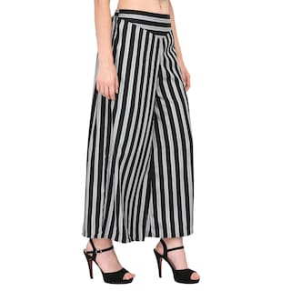 Women White Stripe Palazzo Poly Crepe Flred Black amp; Vashist pZxd7Up