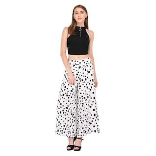 Women Poly Palazzo Print Vashist Flred Box Crepe White qTnfR