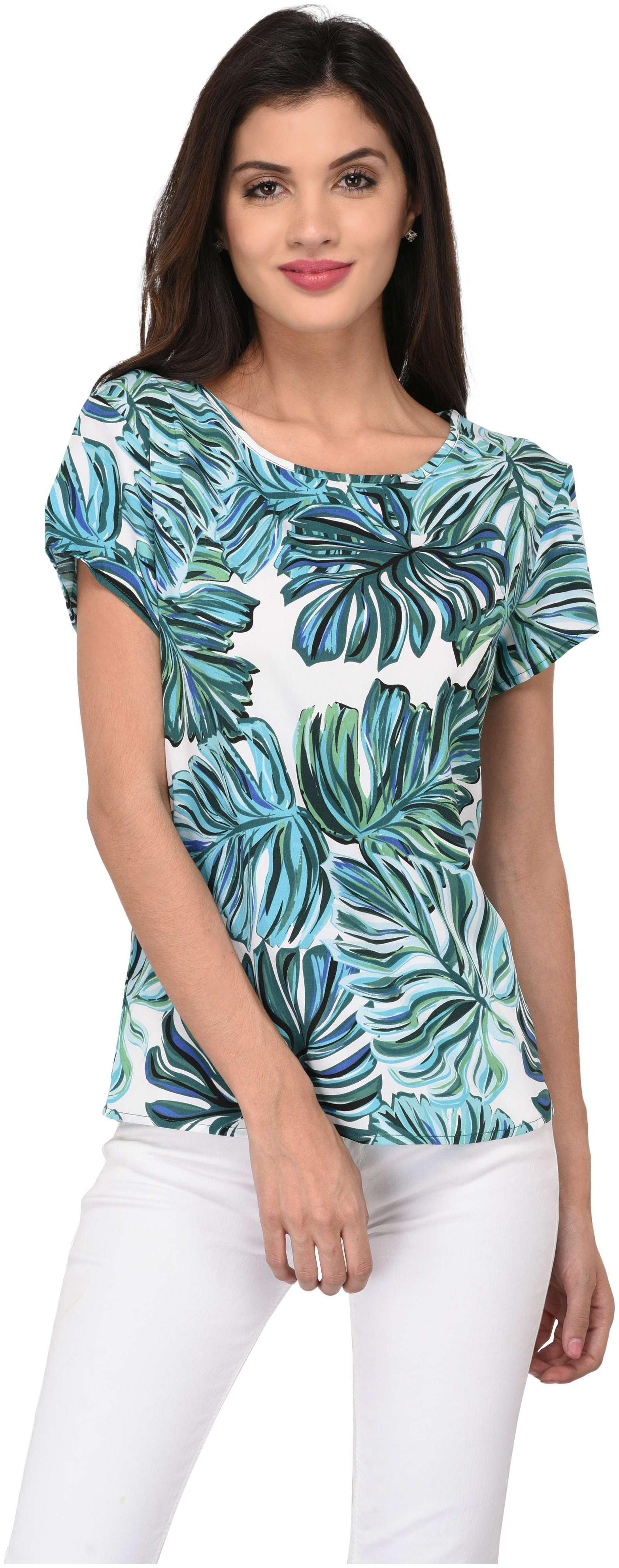 Vashit WomenWhite Floral Printed Casual Top