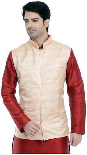 VASTRAMAY Men Beige Solid Regular Fit Ethnic Jacket