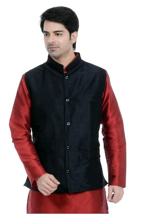 Vastramay Black Cotton Blend Nehru Jacket