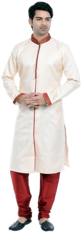 VASTRAMAY Cotton Medium Sherwani - White