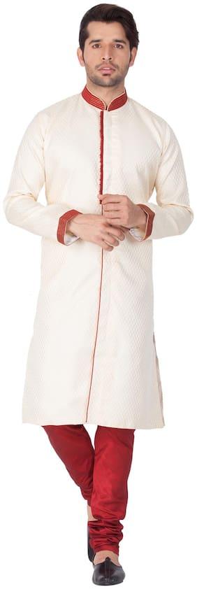 Vastramay Men sherwani Style Cotton Silk Kurta and Pyjama Set