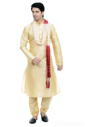 c21cf2bbd29 VASTRAMAY Men Regular Fit Blended Full Sleeves Solid Kurta Pyjama - Gold