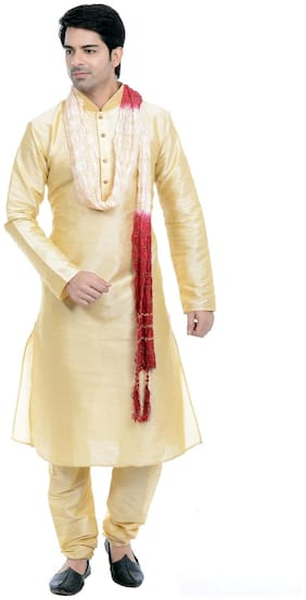 VASTRAMAY Men Regular fit Blended Full sleeves Solid Kurta Pyjama - Gold