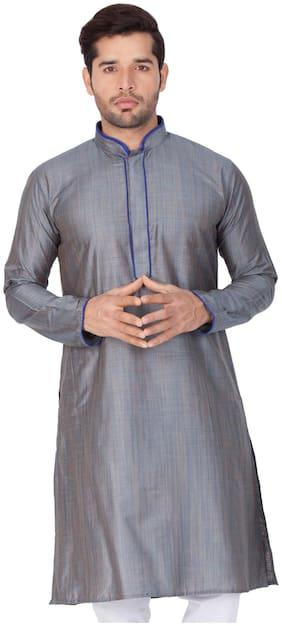 Vastramay Men Grey Cotton Silk Only Kurta