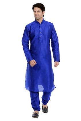 VASTRAMAY Men Regular Fit Blended Full Sleeves Solid Kurta Pyjama - Blue