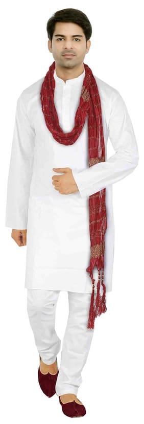 VASTRAMAY Men Regular Fit Cotton Full Sleeves Solid Kurta Pyjama - White