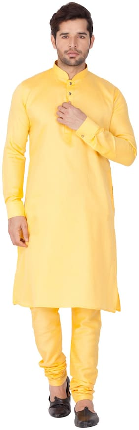 Vastramay Men Yellow Cotton Kurta and Pyjama Set