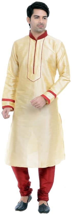 VASTRAMAY Men Regular fit Blended Full sleeves Solid Kurta Pyjama - Yellow