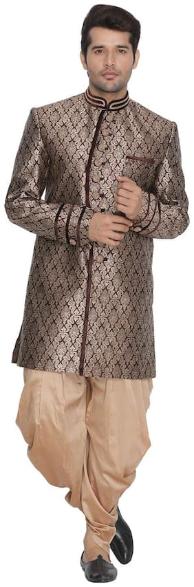 VASTRAMAY Blended Medium Sherwani - Brown