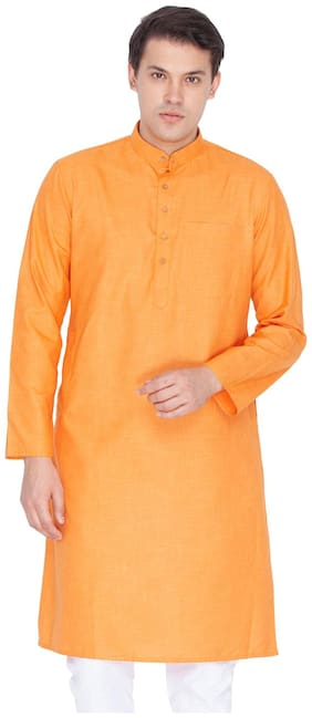 VASTRAMAY Men Orange Regular Fit Kurta