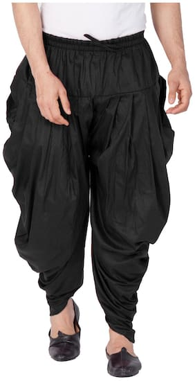 VASTRAMAY Blended Striped Regular Dhoti Dhoti - Black