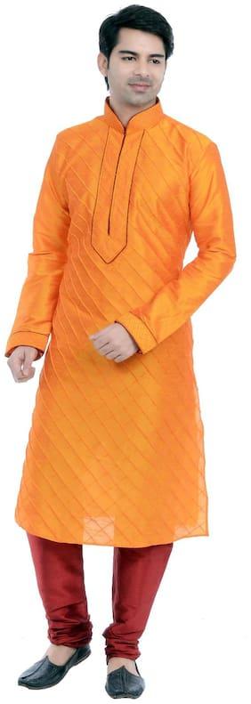 VASTRAMAY Men Regular fit Blended Full sleeves Checked Kurta Pyjama - Orange