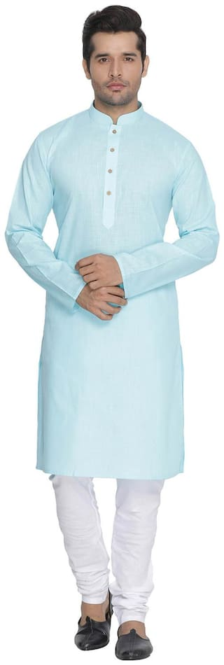 Vastramay Men Light Blue Cotton Kurta and Pyjama Set